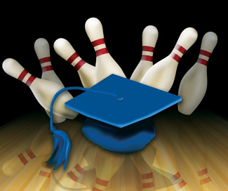 A graduation cap sliding into bowling pins