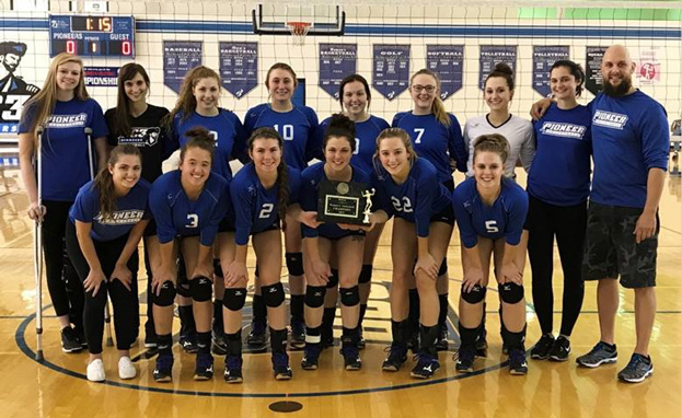 The 2017 BC3 Pioneer Volleyball team poses for a photo after winning the 2017 WPCC Championship in the BC3 Field House.