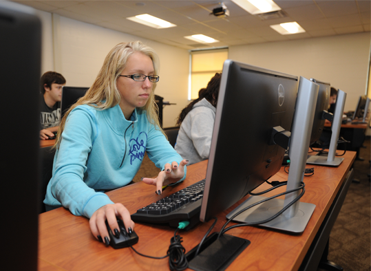 A student working at a computer