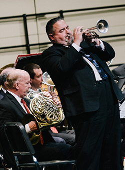trumpet soloist performing onstage