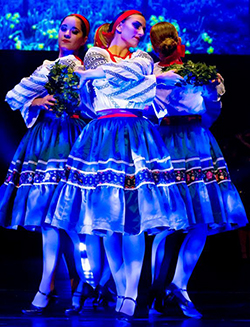 3 women performing ukranian dances