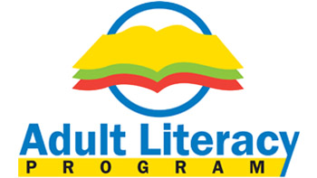 Three open clip art books stacked on one another in front of a blue circle with Adult Literacy written underneath it.